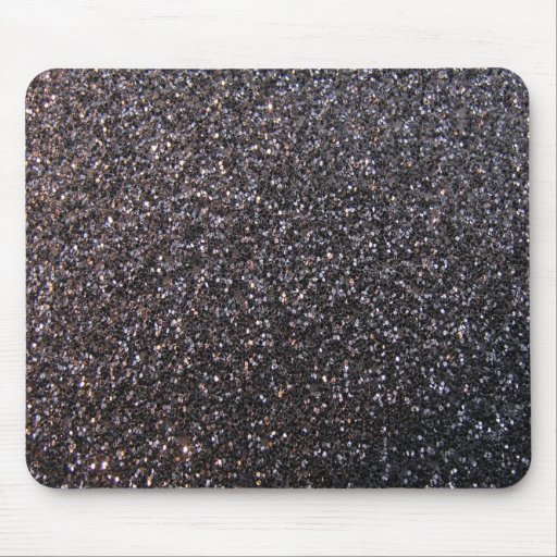 Black faux glitter graphic mouse pads