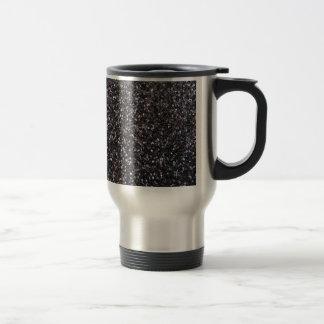 Black faux glitter graphic stainless steel travel mug