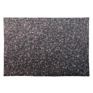 Black faux glitter graphic placemat