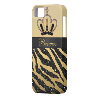 Black Faux Glitter Zebra Print & Jewel Crown iPhone 5 Case