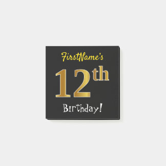Black, Faux Gold 12th Birthday, With Custom Name Post-it Notes