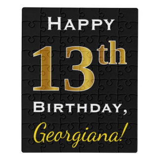 Black, Faux Gold 13th Birthday + Custom Name Jigsaw Puzzle