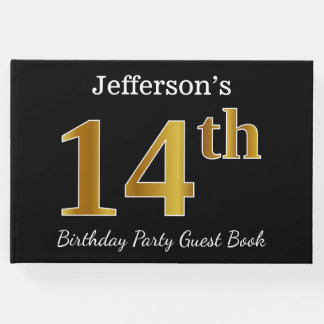Black, Faux Gold 14th Birthday Party + Custom Name Guest Book