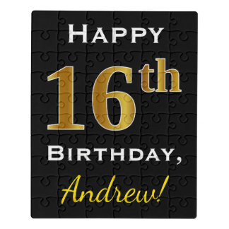 Black, Faux Gold 16th Birthday + Custom Name Jigsaw Puzzle