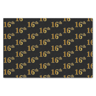 Black, Faux Gold 16th (Sixteenth) Event Tissue Paper
