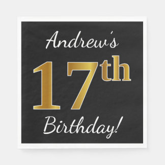 Black, Faux Gold 17th Birthday + Custom Name Disposable Serviette