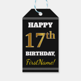 Black, Faux Gold 17th Birthday + Custom Name Gift Tags