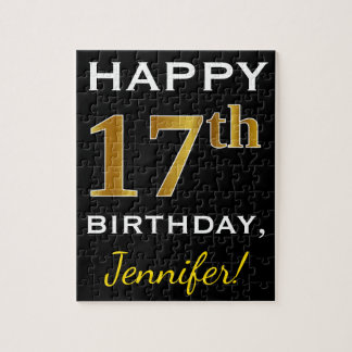 Black, Faux Gold 17th Birthday + Custom Name Jigsaw Puzzle