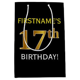 Black, Faux Gold 17th Birthday + Custom Name Medium Gift Bag