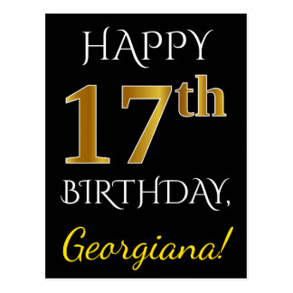 Black, Faux Gold 17th Birthday + Custom Name Postcard