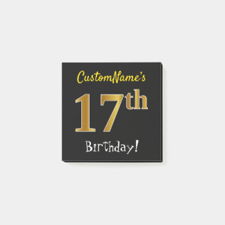 Black, Faux Gold 17th Birthday, With Custom Name Post-it Notes