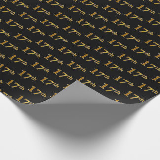 Black, Faux Gold 17th (Seventeenth) Event Wrapping Paper