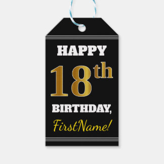 Black, Faux Gold 18th Birthday + Custom Name Gift Tags