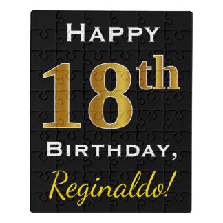 Black, Faux Gold 18th Birthday + Custom Name Jigsaw Puzzle