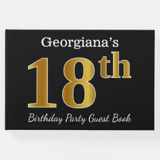 Black, Faux Gold 18th Birthday Party + Custom Name Guest Book