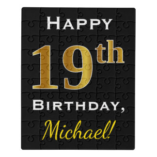 Black, Faux Gold 19th Birthday + Custom Name Jigsaw Puzzle