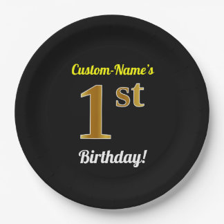 Black, Faux Gold 1st Birthday + Custom Name Paper Plate