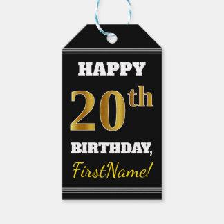 Black, Faux Gold 20th Birthday + Custom Name Gift Tags