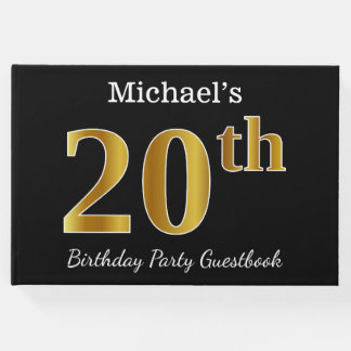 Black, Faux Gold 20th Birthday Party + Custom Name Guest Book