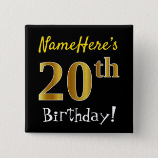Black, Faux Gold 20th Birthday, With Custom Name 15 Cm Square Badge