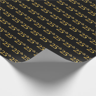 Black, Faux Gold 25th (Twenty-Fifth) Event Wrapping Paper