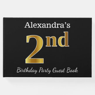 Black, Faux Gold 2nd Birthday Party + Custom Name Guest Book