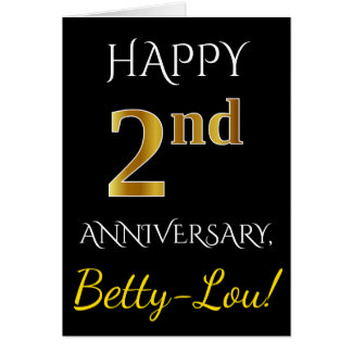 Black, Faux Gold 2nd Wedding Anniversary + Name Card
