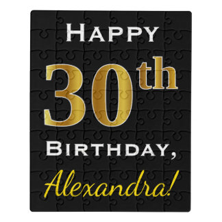 Black, Faux Gold 30th Birthday + Custom Name Jigsaw Puzzle
