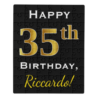 Black, Faux Gold 35th Birthday + Custom Name Jigsaw Puzzle