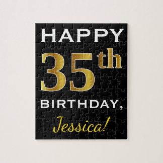 Black, Faux Gold 35th Birthday + Custom Name Jigsaw Puzzle