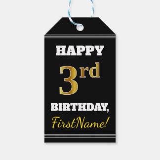 Black, Faux Gold 3rd Birthday + Custom Name Gift Tags