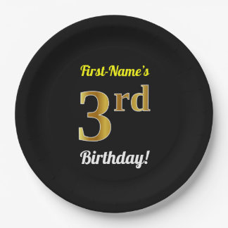 Black, Faux Gold 3rd Birthday + Custom Name Paper Plate