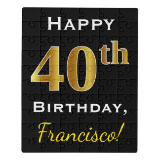 Black, Faux Gold 40th Birthday + Custom Name Jigsaw Puzzle