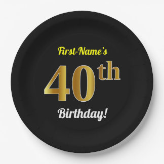 Black, Faux Gold 40th Birthday + Custom Name Paper Plate