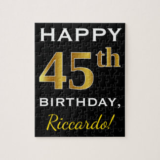 Black, Faux Gold 45th Birthday + Custom Name Jigsaw Puzzle