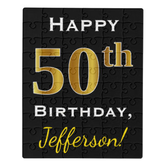Black, Faux Gold 50th Birthday + Custom Name Jigsaw Puzzle