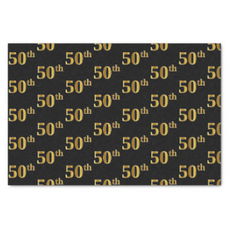 Black, Faux Gold 50th (Fiftieth) Event Tissue Paper