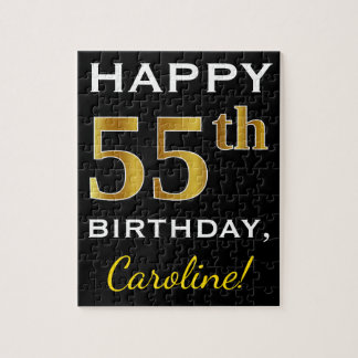 Black, Faux Gold 55th Birthday + Custom Name Jigsaw Puzzle