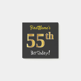 Black, Faux Gold 55th Birthday, With Custom Name Post-it Notes
