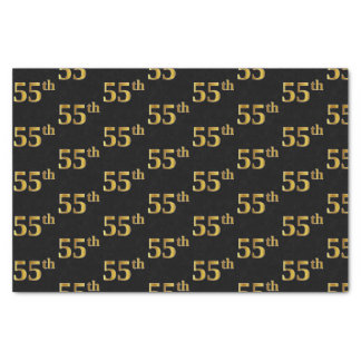 Black, Faux Gold 55th (Fifty-Fifth) Event Tissue Paper