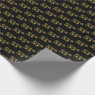 Black, Faux Gold 55th (Fifty-Fifth) Event Wrapping Paper