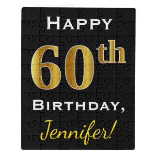 Black, Faux Gold 60th Birthday + Custom Name Jigsaw Puzzle