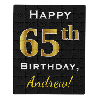 Black, Faux Gold 65th Birthday + Custom Name Jigsaw Puzzle