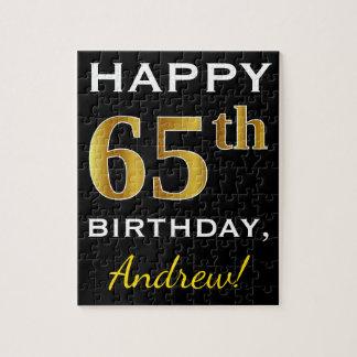 Black, Faux Gold 65th Birthday + Custom Name Jigsaw Puzzle