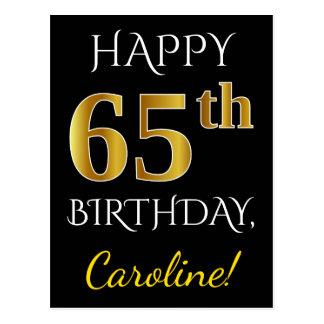 Black, Faux Gold 65th Birthday + Custom Name Postcard
