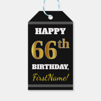 Black, Faux Gold 66th Birthday + Custom Name Gift Tags
