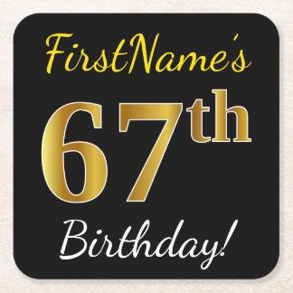 Black, Faux Gold 67th Birthday + Custom Name Square Paper Coaster