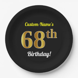 Black, Faux Gold 68th Birthday + Custom Name Paper Plate