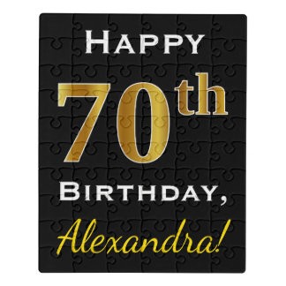 Black, Faux Gold 70th Birthday + Custom Name Jigsaw Puzzle