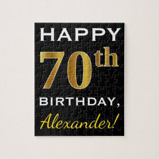 Black, Faux Gold 70th Birthday + Custom Name Jigsaw Puzzle